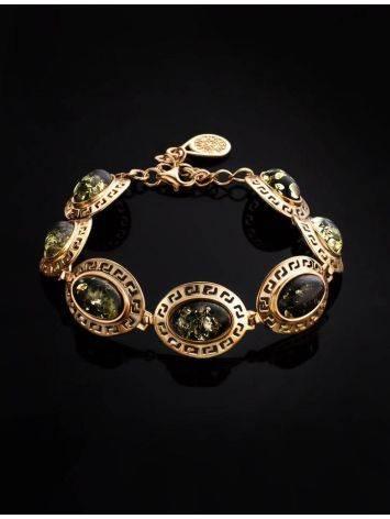 Эффектный позолоченный браслет с натуральным янтарём зелёного цвета «Эллада», фото , изображение 2