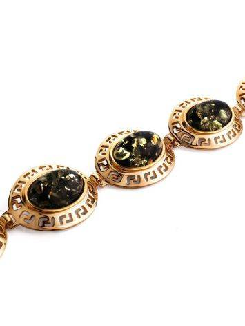 Эффектный позолоченный браслет с натуральным янтарём зелёного цвета «Эллада», фото , изображение 3