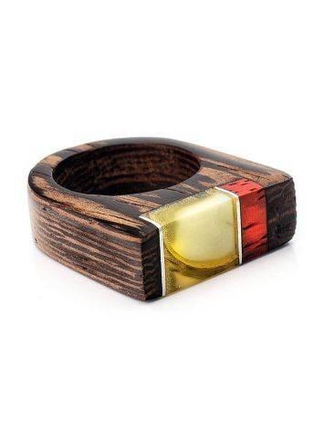 Стильное кольцо из дерева натуральным янтарём «Индонезия», Размер кольца: 17.5, фото , изображение 3