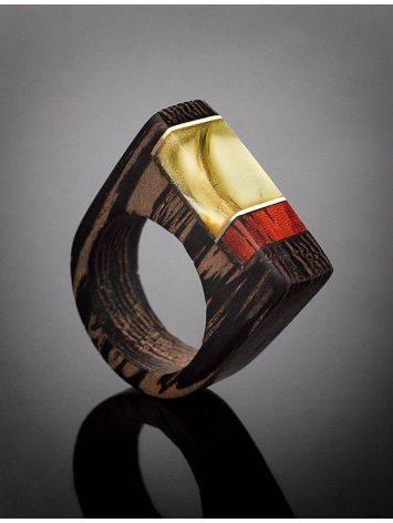 Стильное кольцо из дерева натуральным янтарём «Индонезия», Размер кольца: 17.5, фото , изображение 2