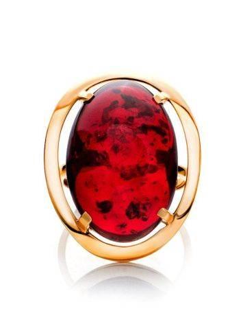 Роскошное коктейльное кольцо с красным янтарём «Элегия» 20.5, Размер кольца: 20.5, фото , изображение 3