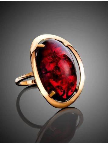 Роскошное коктейльное кольцо с красным янтарём «Элегия» 20.5, Размер кольца: 20.5, фото , изображение 2