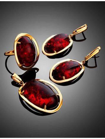 Роскошное коктейльное кольцо с красным янтарём «Элегия» 20.5, Размер кольца: 20.5, фото , изображение 4
