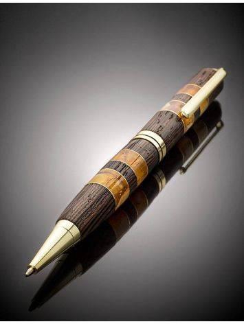 Роскошная шариковая ручка из древесины венге и натурального янтаря, фото , изображение 2
