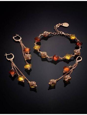 Изысканные удлинённые серьги с янтарём двух цветов «Касабланка», фото , изображение 5