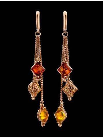 Изысканные удлинённые серьги с янтарём двух цветов «Касабланка», фото , изображение 3