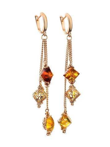 Изысканные удлинённые серьги с янтарём двух цветов «Касабланка», фото , изображение 4