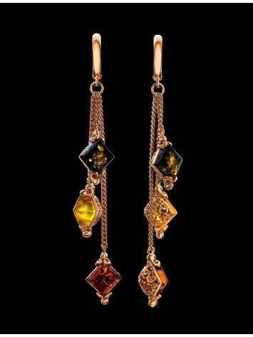 Ажурные нежные серьги из золоченного серебра и янтаря «Касабланка», фото , изображение 2