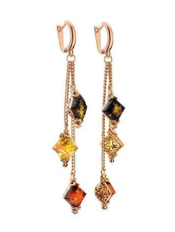 Ажурные нежные серьги из золоченного серебра и янтаря «Касабланка», фото , изображение 4