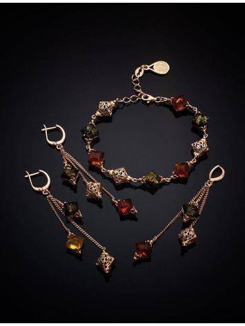 Ажурные нежные серьги из золоченного серебра и янтаря «Касабланка», фото , изображение 5
