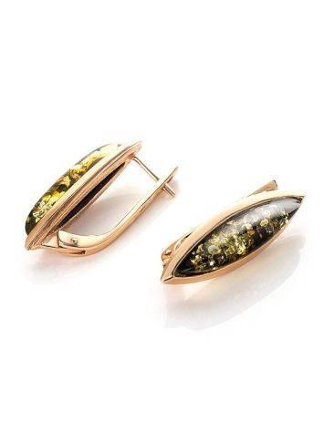 Серьги из натурального зелёного янтаря в позолоченном серебре «Грация», фото , изображение 3