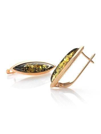 Серьги из натурального зелёного янтаря в позолоченном серебре «Грация», фото , изображение 5
