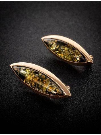 Серьги из натурального зелёного янтаря в позолоченном серебре «Грация», фото , изображение 2