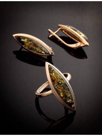Серьги из натурального зелёного янтаря в позолоченном серебре «Грация», фото , изображение 6
