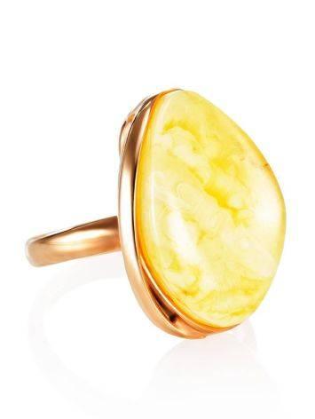 Небольшое кольцо «Лагуна» с цельным молочно-медовым янтарём 17, Размер кольца: 17, фото