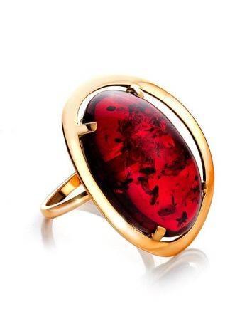 Роскошное коктейльное кольцо с красным янтарём «Элегия» 20.5, Размер кольца: 20.5, фото
