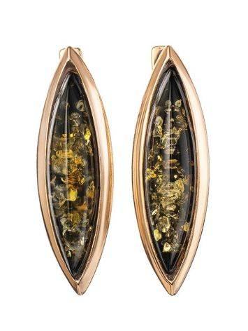 Серьги из натурального зелёного янтаря в позолоченном серебре «Грация», фото