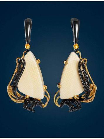 Великолепные филигранные серьги с костью мамонта «Эра», фото , изображение 2