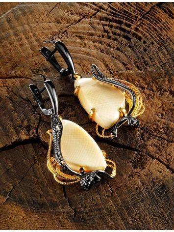Великолепные филигранные серьги с костью мамонта «Эра», фото , изображение 3