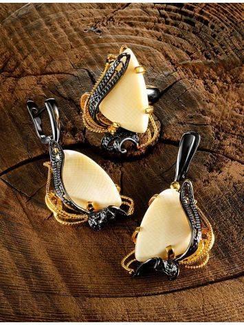 Великолепные филигранные серьги с костью мамонта «Эра», фото , изображение 4