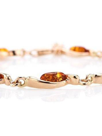 Изящный тонкий браслет из позолоченного серебра с коньячным янтарём «Лиана», фото , изображение 4