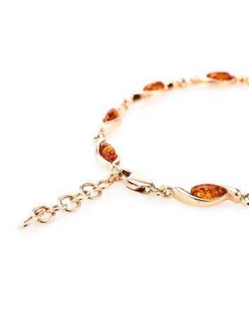 Изящный тонкий браслет из позолоченного серебра с коньячным янтарём «Лиана», фото , изображение 5