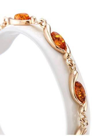 Изящный тонкий браслет из позолоченного серебра с коньячным янтарём «Лиана», фото , изображение 2