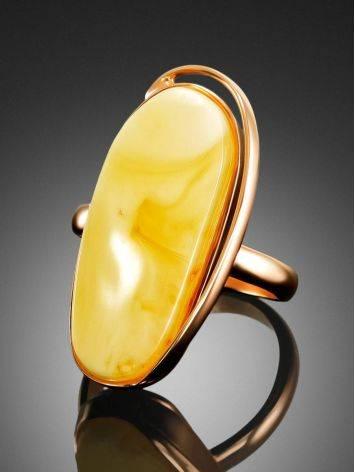 Эксклюзивное кольцо из золочённого серебра с натуральным медовым янтарём «Лагуна» 17.5, Размер кольца: 17.5, фото , изображение 2