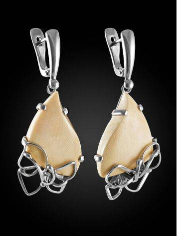 Эффектные серьги из ажурного серебра и бивня мамонта «Эра», фото , изображение 3