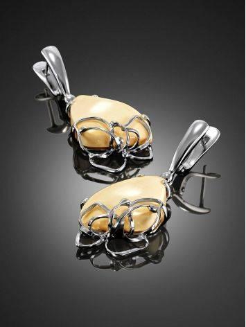 Эффектные серьги из ажурного серебра и бивня мамонта «Эра», фото , изображение 2
