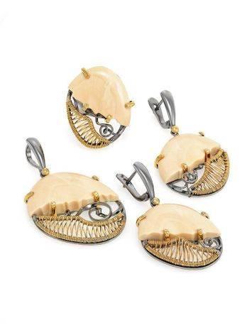 Элегантные серьги из серебра с золочением и кости мамонта «Эра», фото , изображение 4
