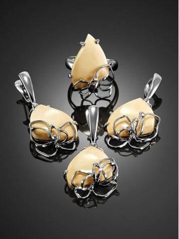 Эффектные серьги из ажурного серебра и бивня мамонта «Эра», фото , изображение 4