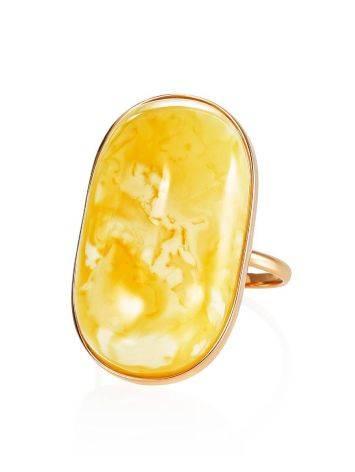 Кольцо классической формы из золота и натурального янтаря 17.5, Размер кольца: 17.5, фото , изображение 3