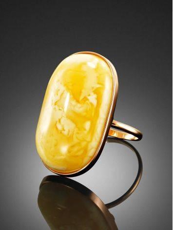 Кольцо классической формы из золота и натурального янтаря 17.5, Размер кольца: 17.5, фото , изображение 2