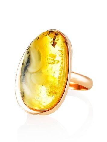Стильное яркое кольцо из золочённого серебра и янтаря с красивой текстурой «Лагуна» 18.5, Размер кольца: 18.5, фото , изображение 3