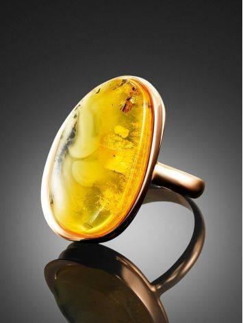 Стильное яркое кольцо из золочённого серебра и янтаря с красивой текстурой «Лагуна» 18.5, Размер кольца: 18.5, фото , изображение 2