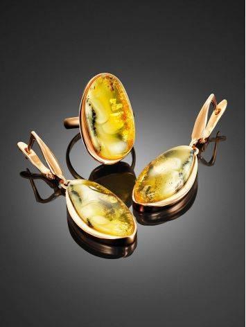 Стильное яркое кольцо из золочённого серебра и янтаря с красивой текстурой «Лагуна» 18.5, Размер кольца: 18.5, фото , изображение 4