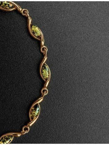 Нежный браслет «Лиана» из золочённого серебра с янтарём зелёного цвета, фото , изображение 2
