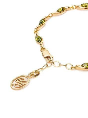Нежный браслет «Лиана» из золочённого серебра с янтарём зелёного цвета, фото , изображение 4