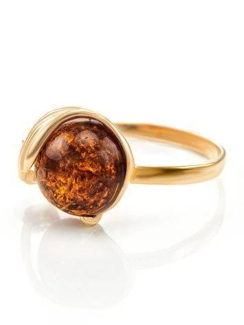 Яркое кольцо из золота и натурального янтаря коньячного цвета «Лебедь» 18, Размер кольца: 18, фото , изображение 4