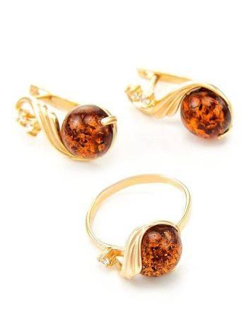 Яркое кольцо из золота и натурального янтаря коньячного цвета «Лебедь» 18, Размер кольца: 18, фото , изображение 5