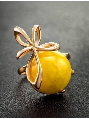 Яркое кольцо из серебра с позолотой и натурального медового янтаря «Черри» 16, Размер кольца: 16, фото , изображение 2