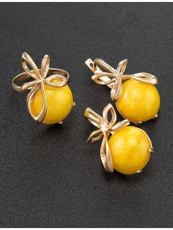 Яркое кольцо из серебра с позолотой и натурального медового янтаря «Черри» 16, Размер кольца: 16, фото , изображение 5