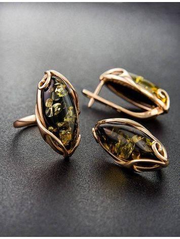 Крупное кольцо из золота 585 пробы со вставкой из натурального янтаря зелёного цвета «Рококо» 18, Размер кольца: 18, фото , изображение 5