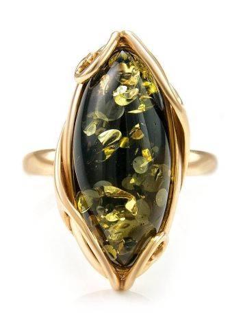 Крупное кольцо из золота 585 пробы со вставкой из натурального янтаря зелёного цвета «Рококо» 18, Размер кольца: 18, фото , изображение 4