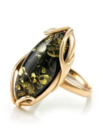 Крупное кольцо из золота 585 пробы со вставкой из натурального янтаря зелёного цвета «Рококо» 18, Размер кольца: 18, фото , изображение 3