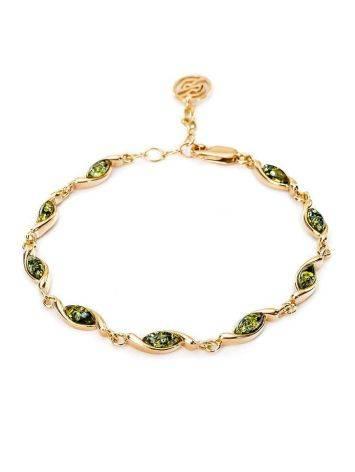 Нежный браслет «Лиана» из золочённого серебра с янтарём зелёного цвета, фото