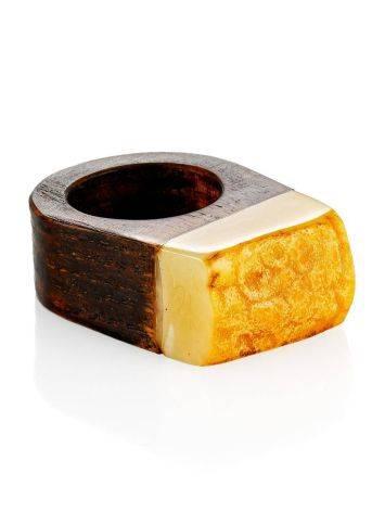 Этническое кольцо из натурального балтийского янтаря и дерева «Индонезия» 15, Размер кольца: 15, фото , изображение 3