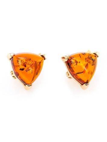 Позолочённые серебряные серьги со вставками из натурального коньячного янтаря «Треугольник», фото , изображение 2