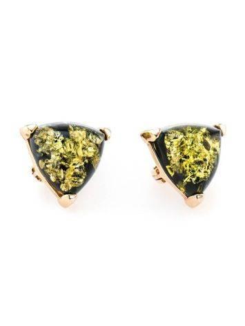 Небольшие серьги из серебра с золочением со вставками из зелёного янтаря «Треугольник», фото , изображение 4